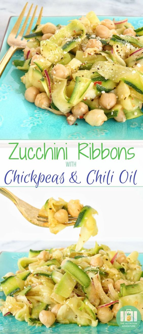 Zucchini Ribbons with Chickpeas & Chili Oil
