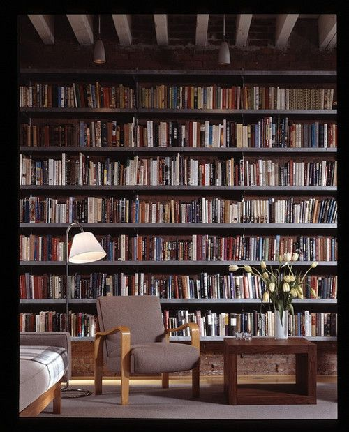 New York Loft - wall of books.