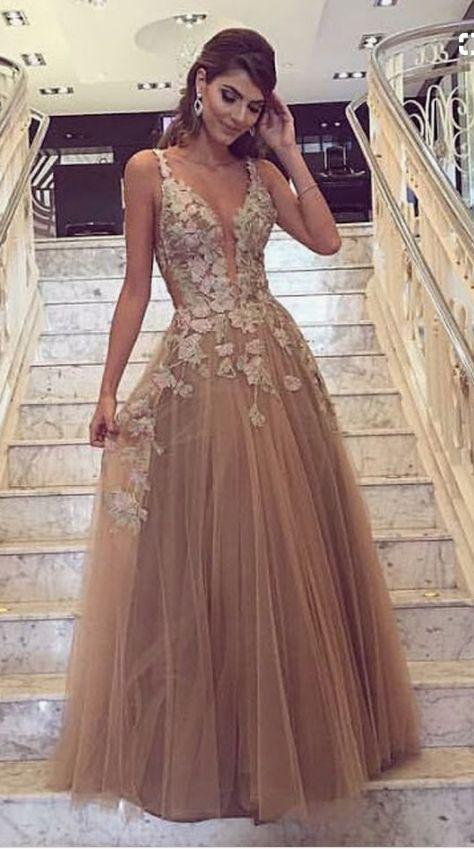 champagne prom dresses,tulle prom dresses,lace e vening dresses