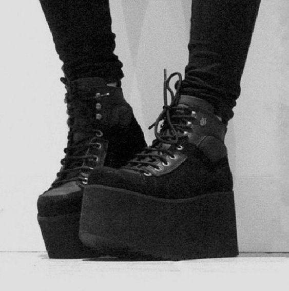 Black Platform Sneakers Tumblr Creepers Shoes Platforms