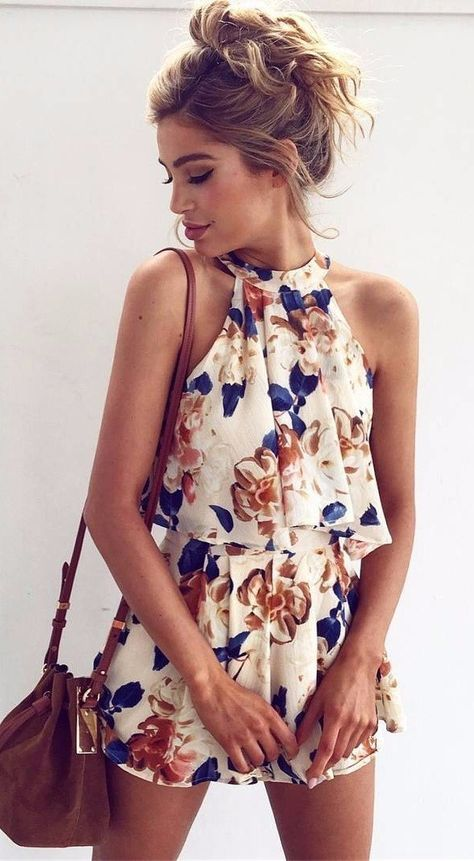#spring #outfits Ivory Floral Romper + Brown Leather Shoulder