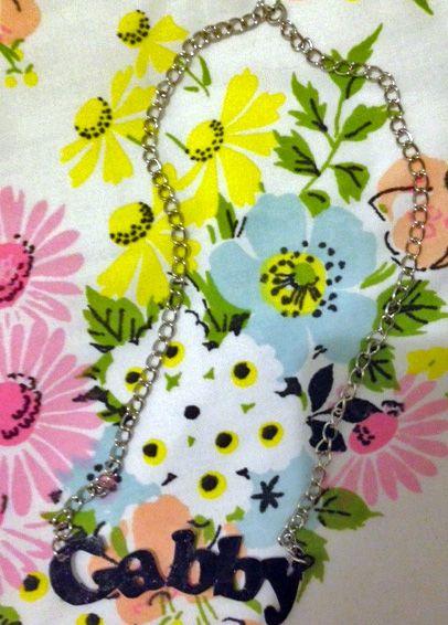 DIY shrinky dink nameplate necklace