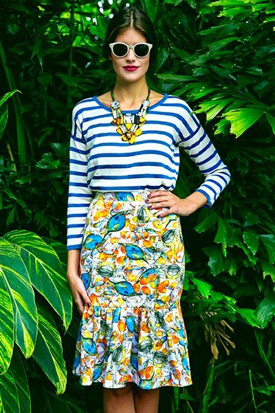 Stripe Tee and floral skirt pattern prints