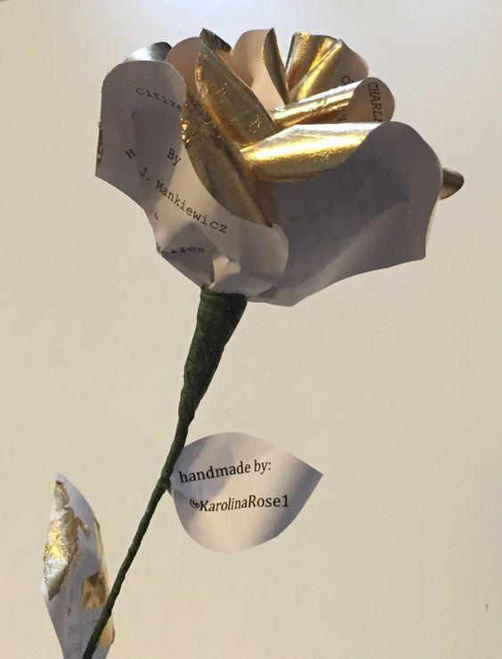 Gold leaf covered paper rose by Karolina Rose.