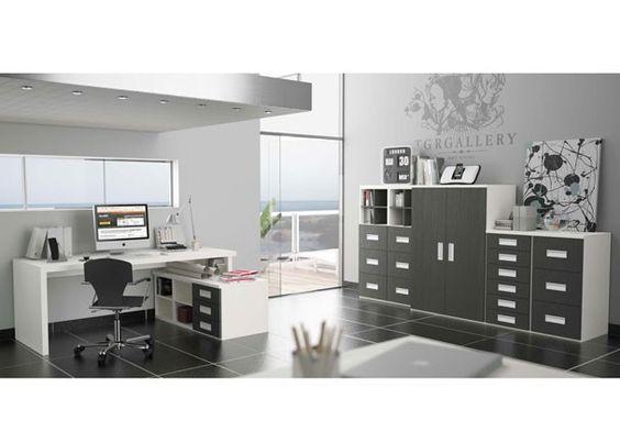Despacho moderno para uso dom stico con mesa modular con - Estanterias de colores ...