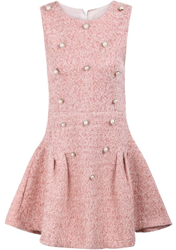 Pink Sleeveless Pearls Embellished Ruffle Dress  My Style ...