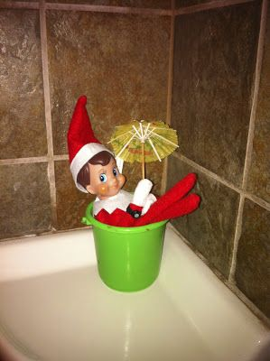 Elf on the shelf ideas elf on the shelf is floating in for Elf on the shelf bathroom ideas