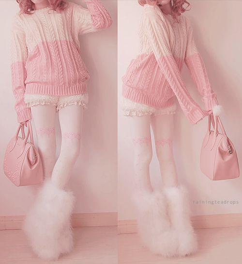"kawaii fashion - want everything she is wearing, except the furry boots thingy X""D ♥"