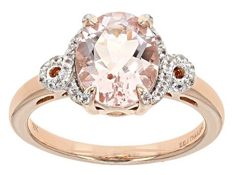 Pink Morganite 10k Rose Gold Ring 2 18ctw Deb055 In 2020 Pink Gemstones Gold Rings Rose Gold