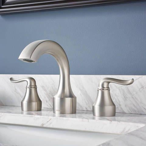 Moen Hamden Spot Resist Brushed Nickel 2 Handle Widespread Watersense Bathroom Sink Faucet With Drain Lowes Com Moen Bathroom Fixtures Bathroom Fixtures Bathroom Sink Faucets