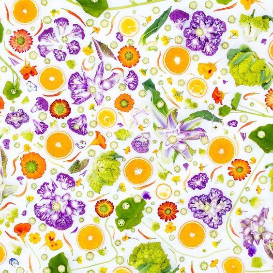 Gotta love a little edible wall paper check  #Repost @rawveganblonde Cauliflower, marigolds and oranges..