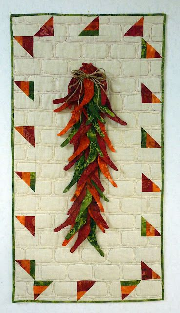 Chile Pepper Quilt - I just love this quilt, especially the freehand quilting that looks like bricks!
