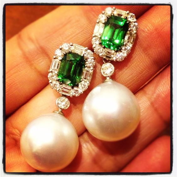 Tsavorite with south sea Pearl and diamond earrings!: