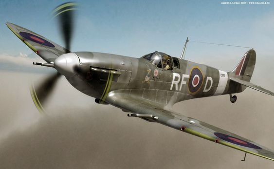 A Spitfire of the 303 squadron flown by Sqn. Ldr. Jan Zumbach - the 'Donald Duck' painted on its side came from Zumbach's nickname. The 303 played a very significant role in the Battle of Britain, joining more than 150 fellow Polish pilots in this crucial encounter. The squadron shot down 126 enemy planes and lost merely eight pilots in the effort, far surpassing the performance of any British squadron.  Beautiful 3D rendering by Anders Lejczak (using Cinema4D R10 / BodyPaint3).