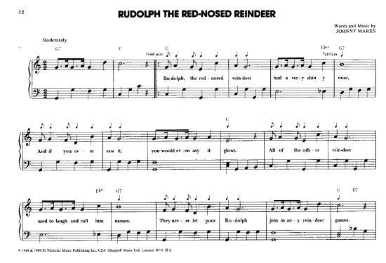 Rudolph The Red Nosed Reindeer >>> KLICK auf die Noten um Reinzuhören <<<