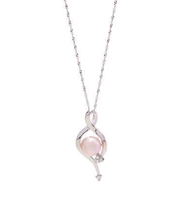 Another great find on #zulily! Pink Pearl & Cubic Zirconia Round Pendant Necklace #zulilyfinds
