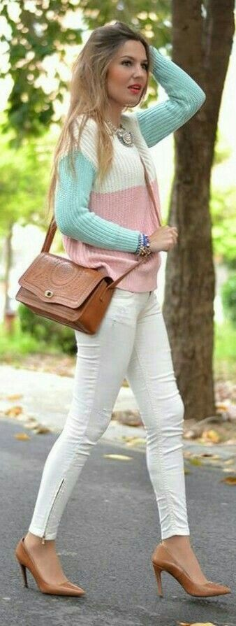 outfits blanco con rosa