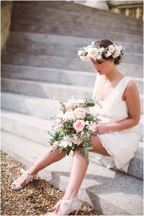 Laure de Sagazan Short dress | Image by @cathepplephotos , see more at http://www.frenchweddingstyle.com/french-bohemian-elopement-teamamour/