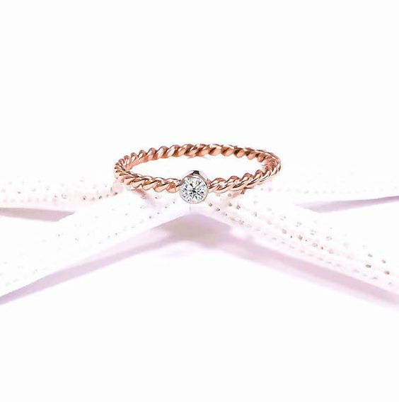 14k Rose Gold Wedding Ring Wedding Band Her by JewelryYourStyle