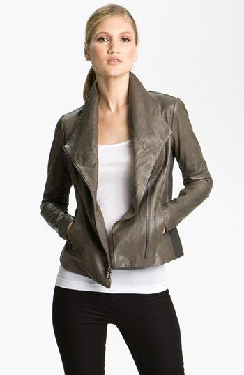 Taupe Leather Jacket Womens | Outdoor Jacket