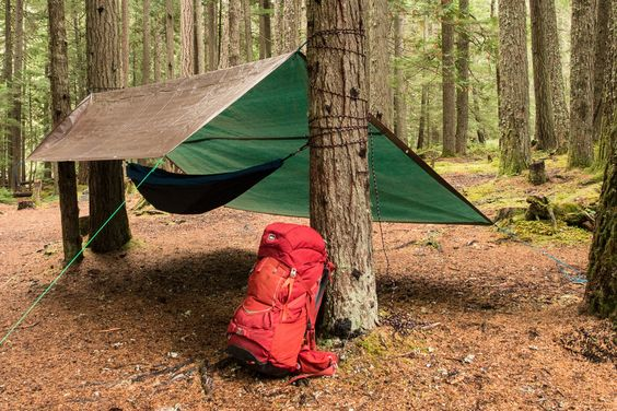 Tarp Tip #1: Tie a line a few feet above your nap sanctuary and hang the tarp like an A-frame roof. More of a minimalist? Tie the line a few feet over your tent's footprint for an ultralight summer shelter.