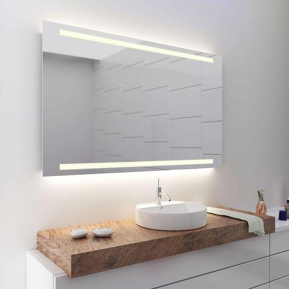 Spiegelschrank Ogrel mit LED Beleuchtung Badspiegel Pinterest - led licht für badezimmer
