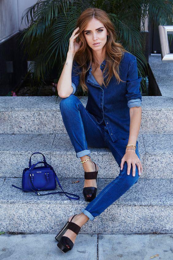 "LA blues. Chiara Ferragni styles a denim-on-denim look from Calvin Klein Jeans with the ""Sofie"" cross-body duffle bag."