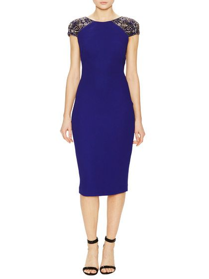 Beaded Cap Sleeve Sheath Dress by Badgley Mischka Collection at Gilt