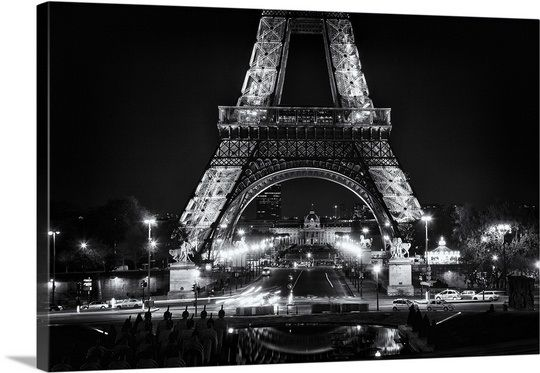 Eiffel Tower at night, black and white