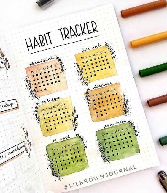 20 idées de Bullet Journal pour l'automne ! (page par @lilbrownjournal)