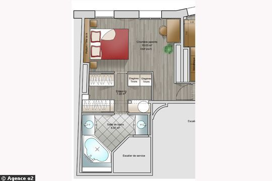 14 plans pour moderniser un appartement for Plan de suite parentale avec salle de bain dressing