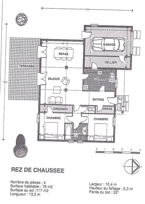 plan gratuit maison bois moderne 2 chambres plan idée Pinterest
