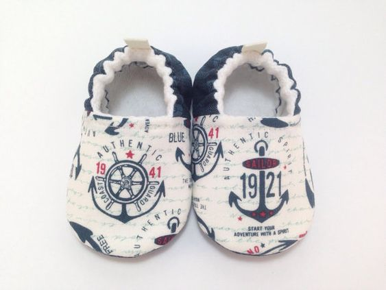 Anchors Baby Shoes Baby Slippers Soft Sole by CharleeOhCreations
