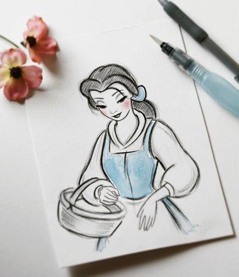 Um Lindo Desenho Da Bella Desenhos A Lapis Da Disney Desenhos