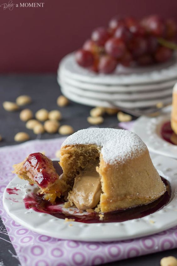 Peanut Butter and Jelly Lava Cakes | The jellies, Almond ...