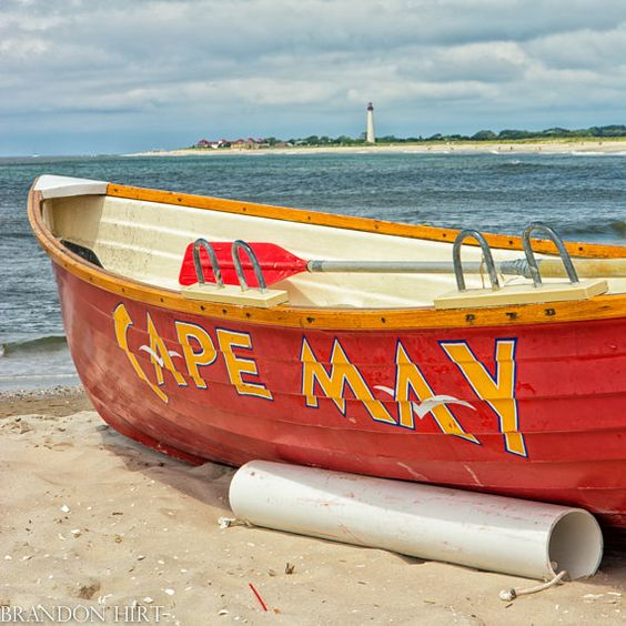 Cape may photo lifeguard boat new jersey shore lighthouse for Jersey shore fishing