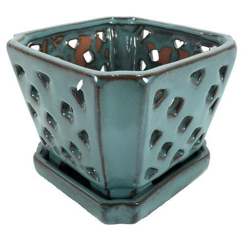 Diamond Ceramic Orchid Pot Saucer 5 Square Opal Blue Orchid Pot Orchids Ceramics