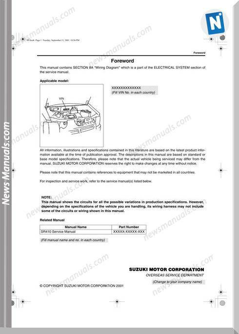 Suzuki Wagon Sl410 Wiring Diagrams Suzuki Suzuki Wagon R Electrical Wiring Diagram