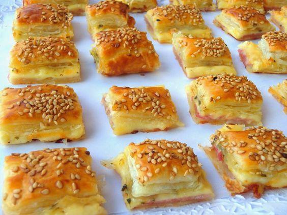 RECETA Bocaditos de jamón y queso, Otra receta de aperitivo bien fácil y buena. Con hojaldre se pueden hacer auténticas maravillas ya os lo he dicho más de