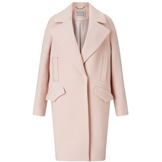 Grace & Oliver Lily Wool Cocoon Coat, Pale Pink ($370) ❤ liked on Polyvore featuring outerwear, coats, cocoon coat, long sleeve coat, pale pink wool coat, wool peacoat and pea jacket