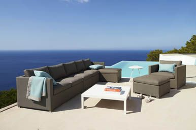 Cane-Line has a wide selection of both garden chairs,  lounge and modular sofas for outdoor use, maintenance free garden tables, pratical side tables, stackable patio chairs, comfortable sunbeds, flowerpots and protective outdoor furniture covers.