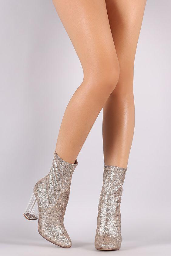 Liliana Glitter Chunky Lucite Heeled Boots