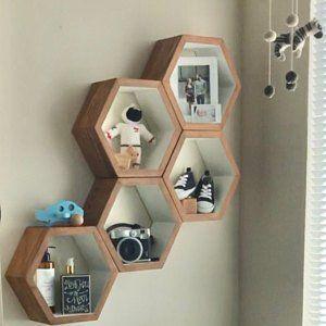Geometric Wood Shelves Midcentury Modern Shelf Hand Painted