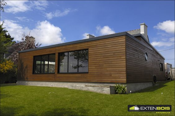 Vue de l'arri u00e8re de notre extension de maison en bois créée sur mesure Extenbois Pinterest  # Maison En Bois Sur Mesure