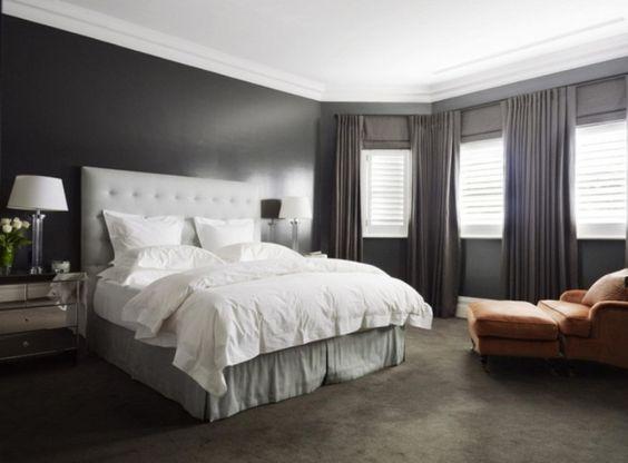dark brown carpet what color walls Bedroom With Grey