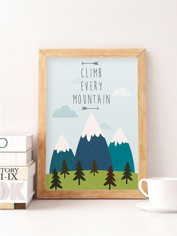 Ilustración de vivero, arte pared, subir cada montaña, vivero Decor, bebé regalo niños decoración, vivero de las montañas, impresión de vivero, decoración niños