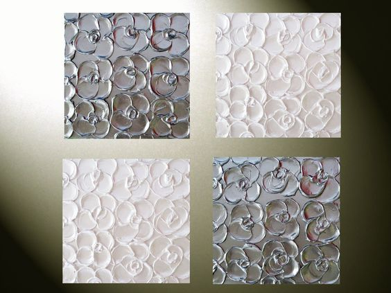 Original, Made to Order, Abstract Paintings, Metallic, Set of 4 -12x12 Sculpted Art, Textured Silver, Pearl White Monochromatic Flowers. $250.00, via Etsy.