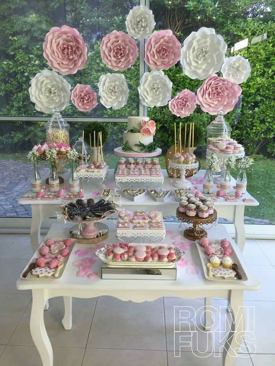 Como Decorar Una Mesa De Dulces Para 15 Años Wedding Dessert Table Wedding Desserts Vintage Bridal Shower