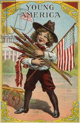 Young America, label featuring a boy holding fireworks, c.1905 (color litho)