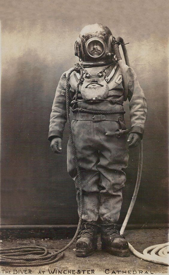 The Diver at Winchester Catherderal, early 1900's